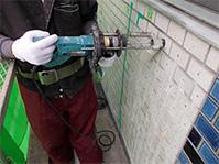 注入口付アンカーピンニングエポキシ樹脂タイル固定工法 無振動ドリル削孔